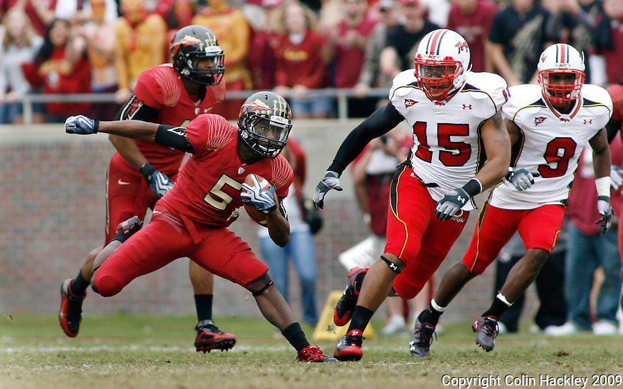 TALLAHASSEE, FL 11/21/09-FSU-MARY FB09 CH27-Florida State's Greg Reid puts a move on Maryland's Drew Gloster and Richard Taylor during first half action Saturday at Doak Campbell Stadium in Tallahassee. .COLIN HACKLEY PHOTO