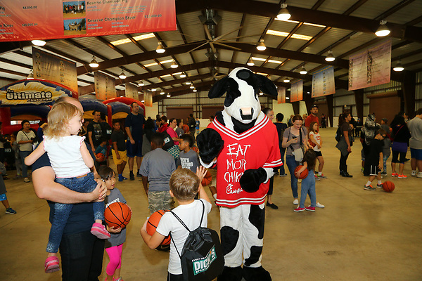 KATY, TX - MARCH 10: Dick's Sporting Goods basketball dribble  at the Southland Men's Conference basketball Tournament at Merrell Center in Katy on March 10, 2017 in Katy, Texas. (Photo by Rick Yeatts)