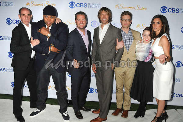 18 May 2015 - West Hollywood, California - Miguel Ferrer, LL Cool J, Chris O'Donnell, Eric Christian Olsen, Barrett Foa, Renee Felice Smith, Daniela Ruah. 3rd Annual CBS Television Studios Rooftop Summer Soiree held at The London Hotel. Photo Credit: Byron Purvis/AdMedia