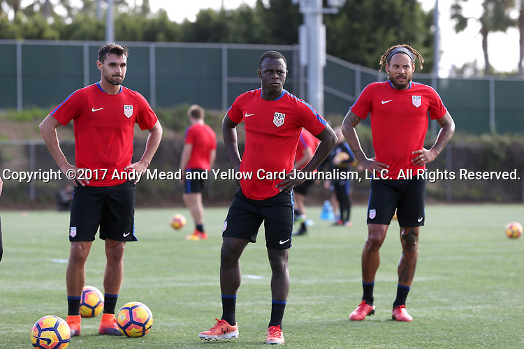 11 January 2017: Kekuta Manneh (center) with Chris Wondolowski (left) and Jermaine Jones (right). The United States Men's National Team held their first training session under new head coach Bruce Arena on The Murphy Family Field at the StubHub Center in Carson, California.