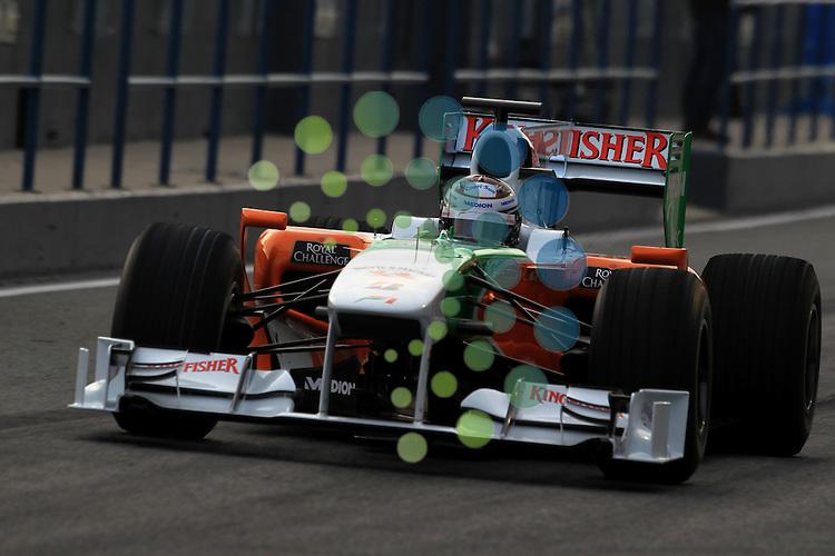 F1 Tests, Jerez Spain  10. - 14. February 2010.Adrian Sutil (GER), Force India Formula One Team ..Hasan Bratic;Koblenzerstr.3;56412 Nentershausen;Tel.:0172-2733357;.hb-press-agency@t-online.de;http://www.uptodate-bildagentur.de;.Veroeffentlichung gem. AGB - Stand 09.2006; Foto ist Honorarpflichtig zzgl. 7% Ust.;Hasan Bratic,Koblenzerstr.3,Postfach 1117,56412 Nentershausen; Steuer-Nr.: 30 807 6032 6;Finanzamt Montabaur;  Nassauische Sparkasse Nentershausen; Konto 828017896, BLZ 510 500 15;SWIFT-BIC: NASS DE 55;IBAN: DE69 5105 0015 0828 0178 96; Belegexemplar erforderlich!..
