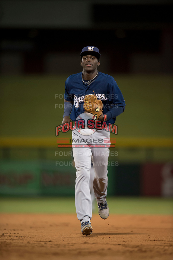 AZL Brewers second baseman Edwin Sano (8) jogs off the field between innings of an Arizona League game against the AZL Cubs 1 at Sloan Park on June 29, 2018 in Mesa, Arizona. The AZL Cubs 1 defeated the AZL Brewers 7-1. (Zachary Lucy/Four Seam Images)