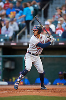 Gwinnett Braves third baseman Rio Ruiz (14) at bat during a game against the Buffalo Bisons on August 19, 2017 at Coca-Cola Field in Buffalo, New York.  Gwinnett defeated Buffalo 1-0.  (Mike Janes/Four Seam Images)