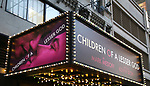 """Theatre Marquee unveiling for  the Broadway revival of """"Children of a Lesser God"""" directed by director Kenny Leon and starring Joshua Jackson, Lauren Ridloff and Anthony Edwards on March 1, 2018 at Studio 54 in New York City."""