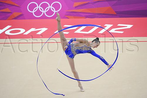 10.08.2012. London, England. Ganna Rizatdinova UKR Ribbon Rythmic Gymnastcis 2012 London Olympic Games.