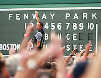 Boston, MA  -  In front of the Green Monster,  Bruce Springsteen and the E Street Band play Fenway Park on Tuesday, August 14, 2012.