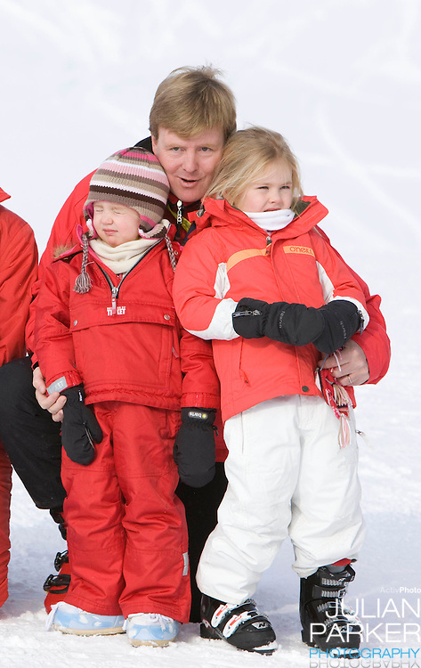 Crown Prince Willem Alexander of Holland with Daughters, Princess Alexia, Princess Catharina Amalia .attend a Photocall with Members of The Dutch Royal Family during their Winter Ski Holiday in Lech Austria