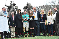 HOT SPRINGS, AR - FEBRUARY 19: Jockey Kent Desormeaux wins the Southwest Stakes and celebrates in the winners circle at Oaklawn Park on February 19, 2018 in Hot Springs, Arkansas. (Photo by Ted McClenning/Eclipse Sportswire/Getty Images)