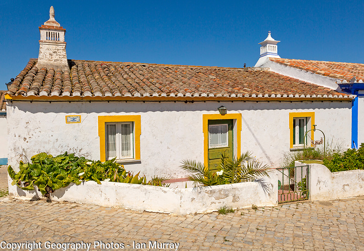 Traditional architecture building cottage style house Cacela Velha, Vila Real de Santo António, Algarve, Portugal, Southern Europe