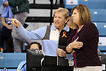 16 November 2014: UNC head coach Sylvia Hatchell (left) with UCLA head coach Cori Close (right). The University of North Carolina Tar Heels hosted the University of California Los Angeles Bruins at Carmichael Arena in Chapel Hill, North Carolina in a 2014-15 NCAA Division I Women's Basketball game. UNC won the game 84-68.
