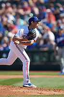 Texas Rangers pitcher Locke St. John (82) during a Cactus League Spring Training game against the Los Angeles Dodgers on March 8, 2020 at Surprise Stadium in Surprise , Arizona. Rangers defeated the Dodgers 9-8. (Tracy Proffitt/Four Seam Images)