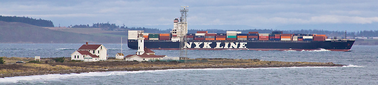 Container ship, NYK Constellation, Nyk Line, entering Puget Sound, off Point Wilson, Washington State, bound for Port of Tacoma, shipping, world trade,