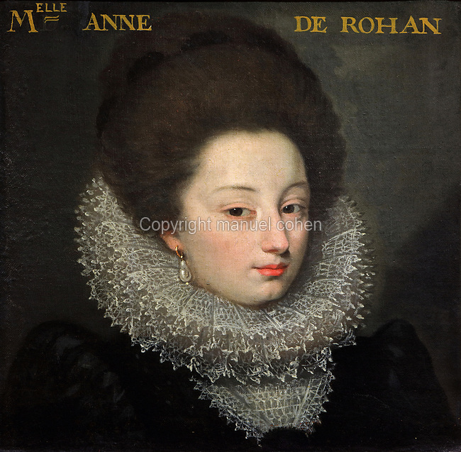 Portrait of Anne de Rohan, with a lace ruff, oil painting on canvas, c. 1625, by unknown artist, from the Gallery of portraits from the Chateau de Saint Germain-Beaupre, Creuse, now in the Musee des Beaux-Arts de la Ville de Blois, housed since 1869 on the first floor of the Louis XII wing of the Chateau Royal de Blois, built 13th - 17th century in Blois in the Loire Valley, Loir-et-Cher, Centre, France. The museum originally opened in 1850 in the Francois I wing, but moved here in 1869 after the rooms had been restored by Felix Duban in 1861-66. The chateau has 564 rooms and 75 staircases and is listed as a historic monument and UNESCO World Heritage Site. Picture by Manuel Cohen