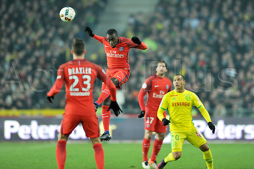 January 21st, 2017, Nantes, France; French League 1 football, Nantes versus Paris Saint Germain;  BLAISE MATUIDI (psg)wins the header over PARDO (nan)