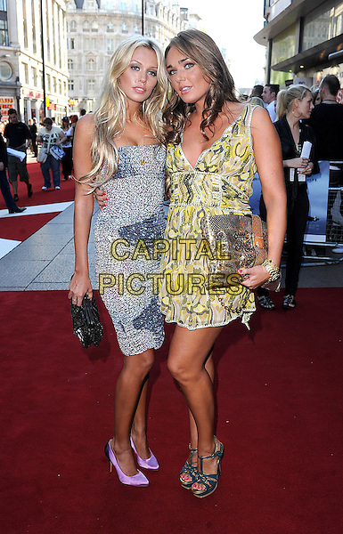 "PETRA & TAMARA ECCLESTONE.The UK Premiere of ""The X Files - I Want To Believe"", Empire Leicester Square, London, England..July 30th, 2008 .full length yellow printed print dress black white patterned purple shoes pointy green sandals gold clutch bag sisters siblings.CAP/BEL.©Tom Belcher/Capital Pictures."