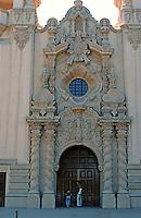 San Diego: Balboa Park--Casa del Prado entrance. Churriqueresque (Span. Baroque). Bertram Goodhue, Arch.  Photo '78.
