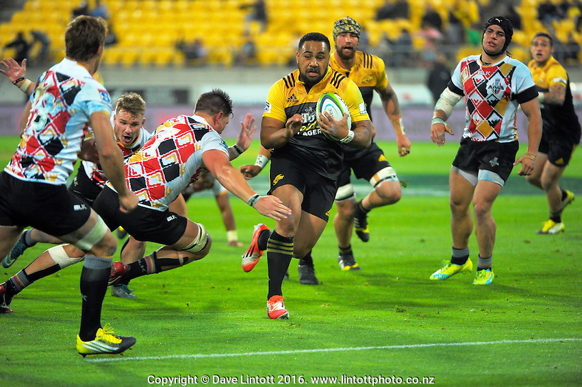 Ngani Laumape in action during the Super Rugby match between the Hurricanes and Southern Kings at Westpac Stadium, Wellington, New Zealand on Friday, 25 March 2016. Photo: Dave Lintott / lintottphoto.co.nz
