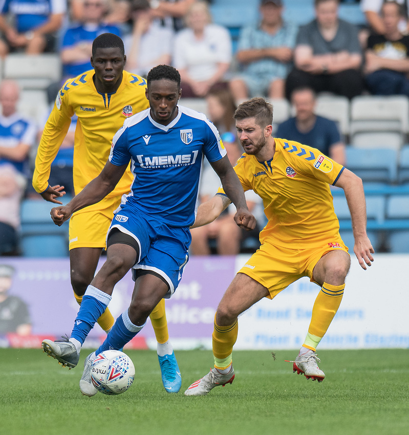 Gillingham's Brandon Hanlan (centre) under pressure from Bolton Wanderers' Yoan Zouma (left) & Luke Murphy (right) <br /> <br /> Photographer David Horton/CameraSport<br /> <br /> The EFL Sky Bet League One - Gillingham v Bolton Wanderers - Saturday 31st August 2019 - Priestfield Stadium - Gillingham<br /> <br /> World Copyright © 2019 CameraSport. All rights reserved. 43 Linden Ave. Countesthorpe. Leicester. England. LE8 5PG - Tel: +44 (0) 116 277 4147 - admin@camerasport.com - www.camerasport.com