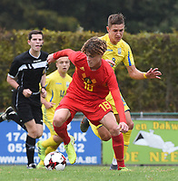 20190927 - WOLVERTEM , BELGIUM : Belgian Raf Smekens (18) and Ukraine's Yehor Yarmoliuk (8) pictured during the friendly  soccer match between  under 16 teams of  Belgium and Ukraine , in Wolvertem , Belgium . Thursday 26 th September 2019 . PHOTO SPORTPIX.BE / DIRK VUYLSTEKE