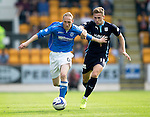 St Johnstone v Dundee...13.09.14  SPFL<br /> Steven Anderson fends off Greg Stewart<br /> Picture by Graeme Hart.<br /> Copyright Perthshire Picture Agency<br /> Tel: 01738 623350  Mobile: 07990 594431