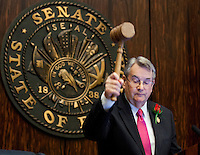 TALLAHASSEE, FLA. 3/5/13-OPENING030513CH-Senate President Don Gaetz, R-Niceville, gavels the Senate to order during the opening day of the 2013 legislative session Tuesday at the Capitol in Tallahassee, Fla...COLIN HACKLEY PHOTO