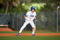 South Dakota State Jackrabbits designated hitter Luke Ira (1) leads off during a game against the Northeastern Huskies on February 23, 2019 at North Charlotte Regional Park in Port Charlotte, Florida.  Northeastern defeated South Dakota State 12-9.  (Mike Janes/Four Seam Images)