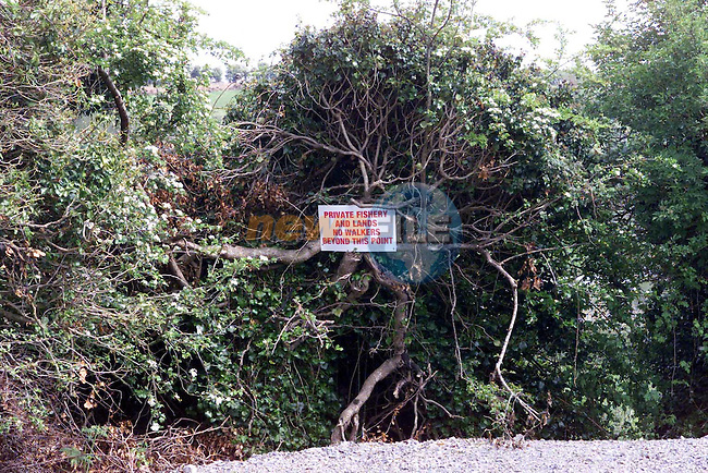 Slane Sign Private Fishery & lands No Walkers beyond this point. .Pic Fran Caffrey Newsfile..