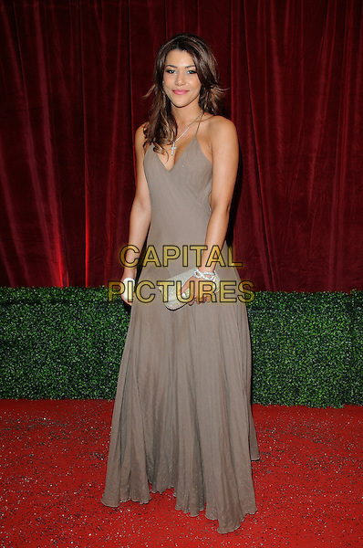 Jane Danson.Attending the British Soap Awards 2012.at the London Television Centre, London, England, UK, 28th April 2012..arrivals full length brown dress clutch bag long maxi .CAP/CAN.©Can Nguyen/Capital Pictures.