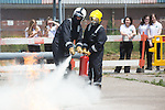 Women in Engineering<br /> Girls from Ysgol Garth Olwg getting a fire fighting lesson at Wales &amp; West Utilities training facility in Cardiff.<br /> Pontypridd<br /> 23.06.14<br /> &copy;Steve Pope-FOTOWALES