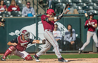 Hawgs Illustrated/BEN GOFF <br /> Jack Kenley of Red team hits a single as Zack Plunkett catches for gray team Wednesday, Oct. 11, 2017, during the Arkansas baseball Fall World Series scrimmage at Baum Stadium in Fayetteville.