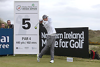 27 May 2015; Rory McIlroy tees off at the 5th<br /> <br /> Dubai Duty Free Irish Open Golf Championship 2015, Pro-Am. Royal County Down Golf Club, Co. Down. Picture credit: John Dickson / DICKSONDIGITAL