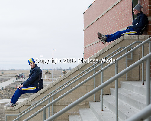 Martin Karlsson (Sweden - 11), ? - Members of Team Sweden warmed up outside the Urban Plains Center in Fargo, North Dakota, on Saturday, April 18, 2009 prior to their final match against the Czech Republic during the 2009 World Under 18 Championship.