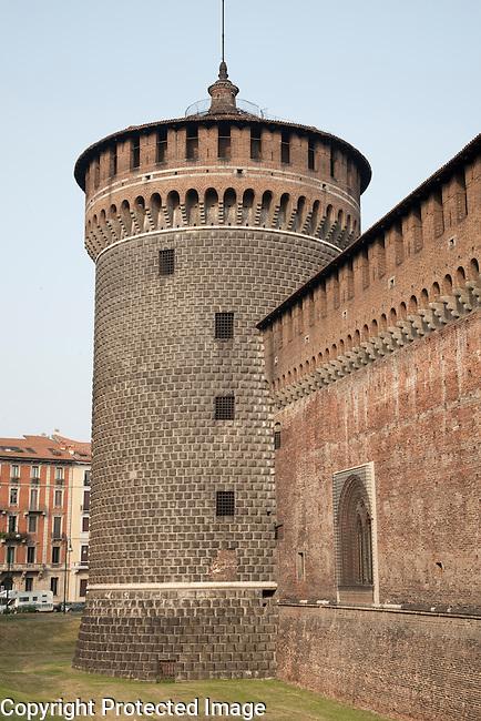 Facade of Sfozesco Castle in Milan, Italy