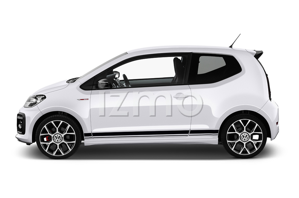 Car driver side profile view of a 2018 Volkswagen UP GTi 3 Door Hatchback