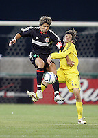 7 May 2005.  DC United's Jaime Moreno (99) and Frankie Hejduk (2) of Columbus collide at RFK Stadium in Washington, DC.