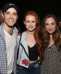"Corey Cott, Madelaine Petsch and Laura Osnes backstage at Broadway's ""Bandstand"" at the Bernard Jacobs Theate on May 19, 2017 in New York City."
