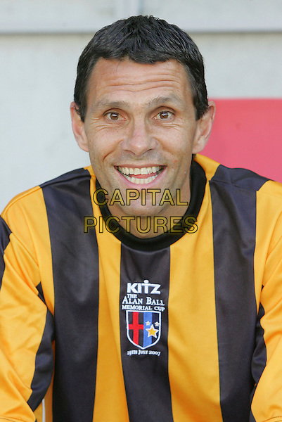GUS POYET.At the Alan Ball Memorial Cup, Held at MK Dons' newly opened stadium, Milton Keynes, England, .July 29th 2007.portrait headshot football  yellow and black striped top kit.CAP/ROS.©Steve Ross/Capital Pictures