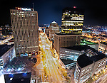 Main street at night in Dayton OHio. North view - from third and mains st. View of PNC bank i.m. pei's design from interesting angle.