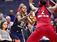 Washington, DC - June 3, 2018: Connecticut Sun guard Courtney Williams (10) in action against Washington Mystics forward Myisha Hines-Allen (2) during game between the Washington Mystics and Connecticut Sun at the Capital One Arena in Washington, DC. (Photo by Phil Peters/Media Images International)
