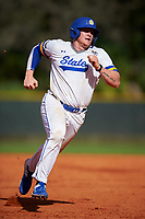 South Dakota State Jackrabbits first baseman Josh Falk (19) running the bases during a game against the Northeastern Huskies on February 23, 2019 at North Charlotte Regional Park in Port Charlotte, Florida.  Northeastern defeated South Dakota State 12-9.  (Mike Janes/Four Seam Images)