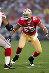 San Francisco 49ers linebacker Ahmad Brooks (55) plays defense during an NFC Championship NFL football game against the New York Giants on January 22, 2012 in San Francisco, California. The Giants won 20-17 in overtime. (AP Photo/David Stluka)