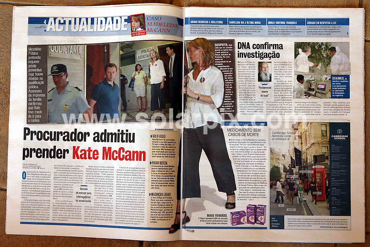 **ALL ROUND PICTURES FROM SOLARPIX.COM**.**WORLDWIDE SYNDICATION RIGHTS**.Portugese Papers. Madeleine McCann was snatched on the 3rd of May 2007..JOB REF:  6246 CSH        DATE: 09_08_2007.**MUST CREDIT  ALBANPIX / SOLARPIX.COM OR DOUBLE FEE WILL BE CHARGED* *UNDER NO CIRCUMSTANCES IS THIS IMAGE TO BE REPRODUCED FOR ANY ONLINE EDITION WITHOUT PRIOR PERMISSION*