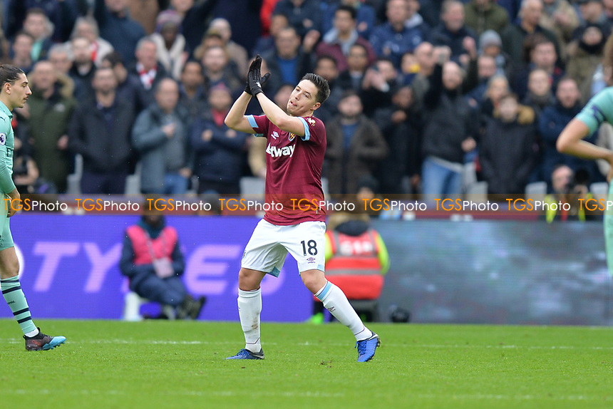 Samir Nasri of West Ham United is substituted during West Ham United vs Arsenal, Premier League Football at The London Stadium on 12th January 2019