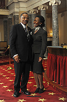 Senator Roland Burris stands with his wife Berlean Burris before his ceremonial swearing in in the old Senate chamber of the U.S. Senate in Washington, DC on January 15, 2008.