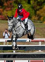 RF Smoke on the Water, with rider Marilyn Little (USA), competes during the Stadium Jumping test during the Fair Hill International at Fair Hill Natural Resources Area in Fair Hill, Maryland on October 21, 2012.