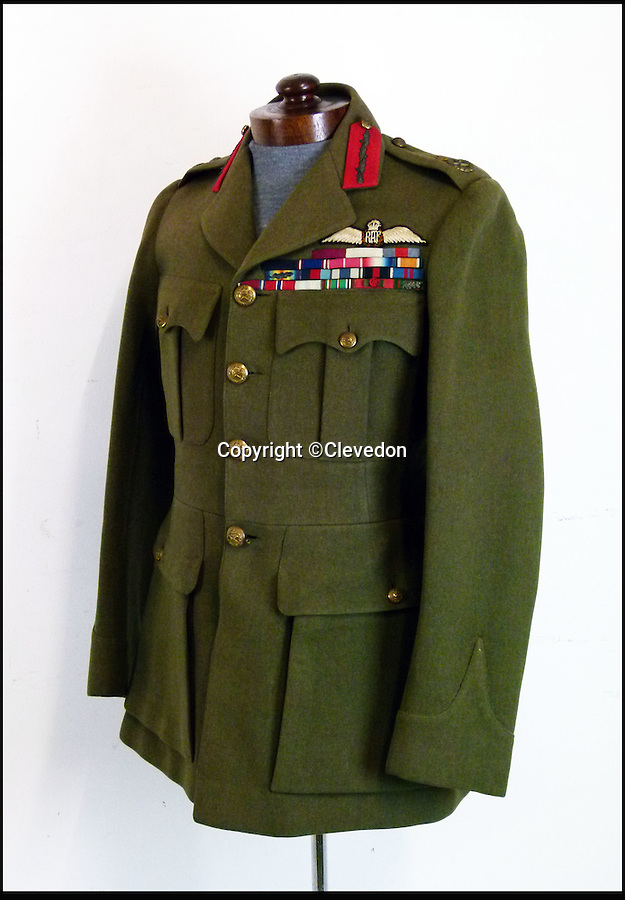 BNPS.co.uk (01202 558833)<br /> Pic: Clevedon/BNPS<br /> <br /> Fit for a King - George VI th RAF dress jacket.<br /> <br /> One of King George VI's RAF uniform's has emerged for auction and is tipped to sell for £6,000.<br /> <br /> The King was due to wear this khaki service dress jacket, which is inscribed in ink with 'H.M The King, Feb 1940', for a full-length portrait in 1951, just one year before his untimely death.<br /> <br /> However, there was a late change of plan and he wore a different uniform instead from the selection he had brought along on the day.<br /> <br /> Following the sitting, the artist, Maurice Codner, was gifted the jacket by Queen Elizabeth II's father and 66 years later his family have decided to put it up for auction.