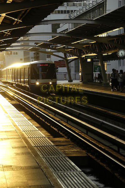 Scenes from Sky Train BTS, Bangkok, Thailand  : .atmosphere gv general view travel rail track platform.CAP/CJ.©Chris Joseph/Capital Pictures.