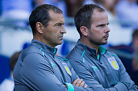 Aston Villa coaches Colin Calderwood and Stephen Clemence ahead of the Sky Bet Championship match between Cardiff City and Aston Villa at the Cardiff City Stadium, Cardiff, Wales on 12 August 2017. Photo by Mark  Hawkins / PRiME Media Images.