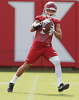 NWA Democrat-Gazette/DAVID GOTTSCHALK   Arkansas Razorback receiver Maleek Barkley  runs through drills Friday, July 28, 2017, during practice on campus in Fayetteville.