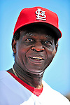 10 March 2010: St. Louis Cardinals' Hall of Fame Member Lou Brock stands outside the dugout prior to a Spring Training game against the Washington Nationals at Roger Dean Stadium in Jupiter, Florida. The Cardinals defeated the Nationals 6-4 in Grapefruit League action. Mandatory Credit: Ed Wolfstein Photo